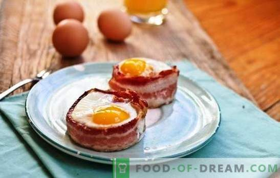 Bacon ja munad - parim külaline kodus toiduvalmistamisel. Raske on üllatada, seda on lihtne toita: fantaasiat peekoniga praetud munades.