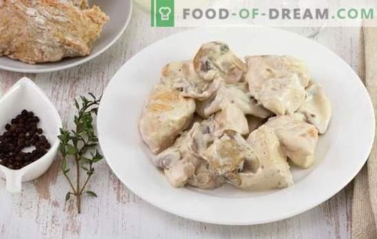 Kana veiseliha stroganoff - tassi igale maitsele ja eelarvele. Kana veiseliha stroganoff hapukoorega, sibula, seente, tomatitega