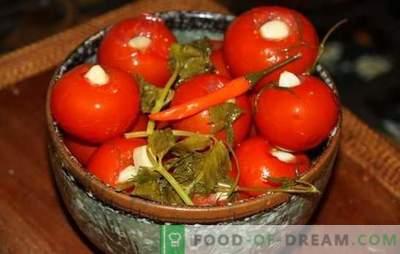 Marinuoti pomidorai su česnakais - mėgstamas užkandis! Receptai marinuoti pomidorai su česnakais: įsimintinas skonis