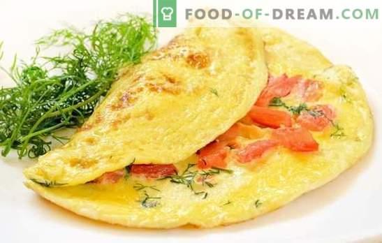 Omlett tomatitega: traditsiooniline hommikusöök. Rikkalikud ja dieedimeletid tomatite, juustu, seente, singi, Pita