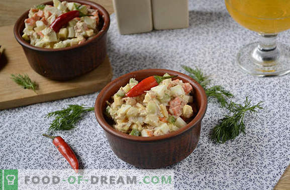 Salat koos tuunikala ja porgandiga: puhkuseks ja iga päev. Samm-sammult autori fotoretsept lihtsa salatiga tuunikonservidega
