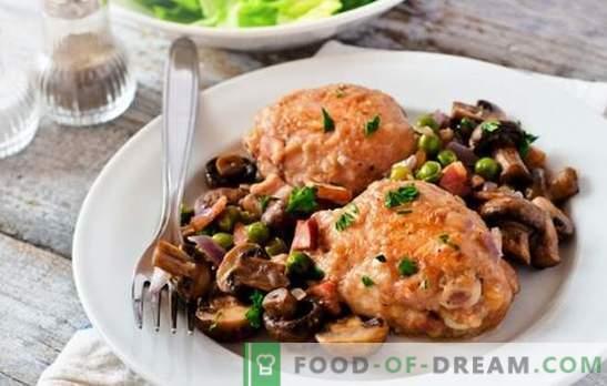Kana seenedega aeglases pliidis - täiuslik kombinatsioon. Parimad kana retseptid seentega aeglases pliidis: täidisega, julienne jne.