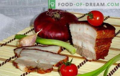 Lard sibula koorimises - kiire soolamine! Salatid ja retseptid toiduvalmistamiseks sibula koorega küüslaugu, adhhika, sinepi, vedeliku suitsuga