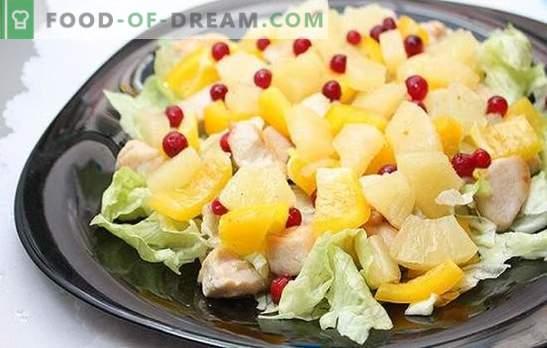 Ananassi ja sinki salat: puhkuseks eksootilise vihjega. Retseptid harmooniliste kombinatsioonidega ananassi ja singi salatis