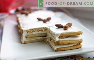 Küpseta küpsiseid ja hapukoorega 15 minutit! Koogideta retseptid küpsetamata küpsiseid ja hapukoort šokolaadiga, banaanid, pähklid