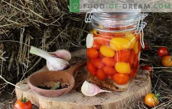 Cherry tomatid talveks - väike terav väike rõõm! Retseptid talveks kirsstomatitega tasakaalustamata valmististe valmistamiseks