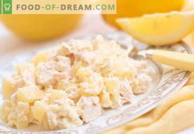 Kana salat ananassi ja juustuga - parimad retseptid. Kuidas õigesti ja maitsev kokk kana salat ananassi ja juustuga.