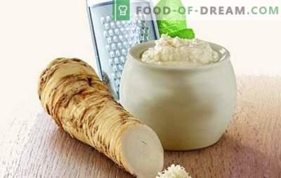 Vürtsikas paar - mädarõigas küüslauguga. Tee maitseained ja kastmed, säilitada ja teha mädarõika suupisteid küüslauguga