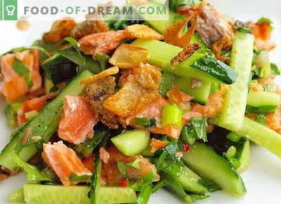 Salat lõhe ja kurgiga - õiged retseptid. Kiiresti ja maitsev salatit lõhe ja kurgiga.