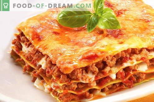 Lasagna - parimad retseptid. Kuidas korralikult ja maitsev küpsetatud lasagna.