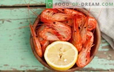 Kuidas ja kui palju krevette valmistada? Veidi, saladusi, toiduvalmistamise retsepte krevettidele, keedetud, külmutatud, koorimata, kuninglikuks ja teisteks