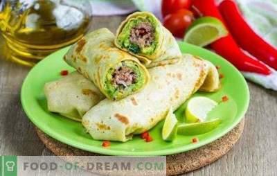Rola Lavash cu carne tocată în cuptor - o masă consistentă. Coaceți în cuptorul cu role de pita cu carne tocată, legume, brânză