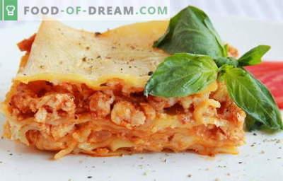 Kana Lasagna - parimad retseptid. Kuidas õigesti ja maitsev kokk lasagna kana.
