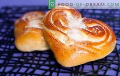 Südamekoogid - omatehtud kookide aroom ja maitse. Parimad retseptid südamekujuliste rullide jaoks suhkru, mooniseemnete, kaneeli jt