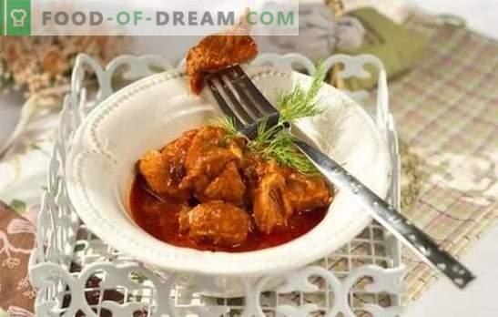 Sealiha tomatikastmes - maitsev liha! Sealiha retseptid tomatikastmes pannil, ahjus, seente, oadega
