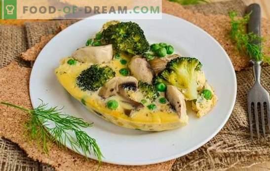 Omlett seentega - vene köök Prantsuse aktsendiga. Omlettide valmistamine seentega