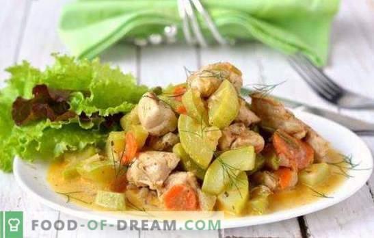 Kana koos suvikõrvitsaga aeglases pliidis - maitsev kombinatsioon. Parimad retseptid kana ja suvikõrvitsaga aeglases pliidis: praad, riis ja seened