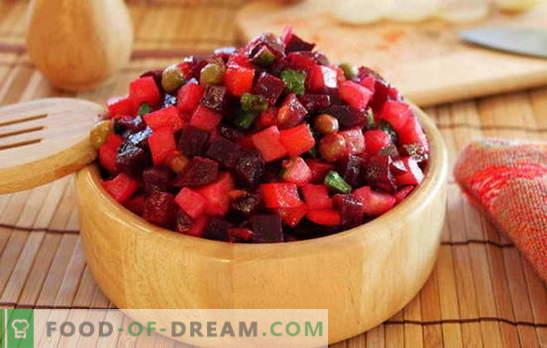 Köögiviljasalat - sööge vitamiine! Retseptid köögiviljavinaigrettidele: oad, õunad, seened, kapsas
