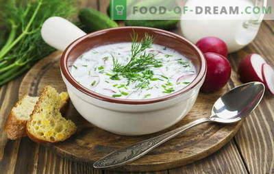 Okroshka, peet ja muud supid kefiiri, köögivilja ja liha kohta. Itaalia, Hispaania ja Vene retseptid suppide jaoks kefiiril
