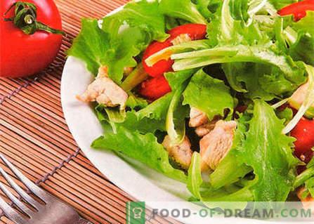 Kana ja tomatite salat - parimad retseptid. Kuidas õigesti ja maitsev valmistada salat kana ja tomatitega.