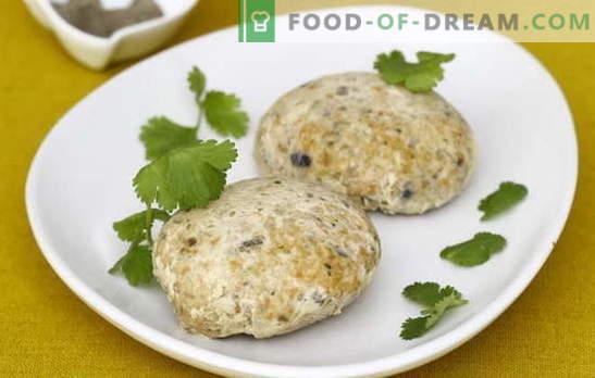 Fishmeat cutlets - majanduslikult ja maitsev! Küpsetatud lihapallid hakkliha, kartulite, peekoni, riisi, juustuga