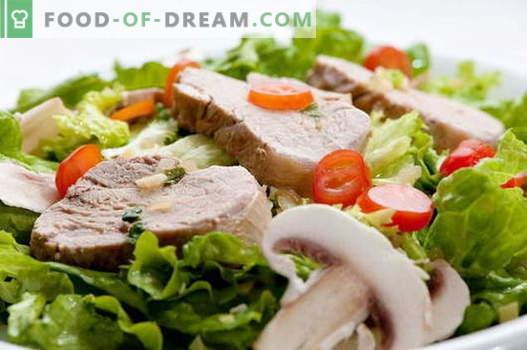 Sealiha salat - parimad retseptid. Kuidas õigesti ja maitsvaid küpsetada sealiha salatit.