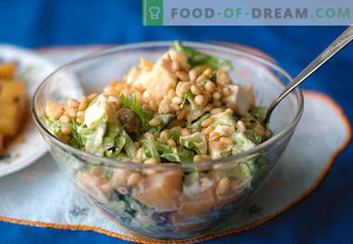 Pannapähklitega salat - parimad retseptid. Kuidas korralikult ja maitsvalt valmistada männi pähklitega salatit.