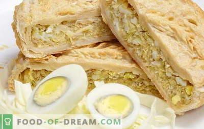 Kihiline kook sibulaga, munad: pärmiga ja ilma. Originaal retseptid pirukad sibula ja lehtköögimunaga