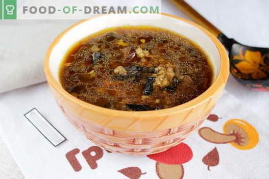 Kuivatatud seente supp - parimad retseptid. Kuidas korralikult ja maitsvalt küpsetatud kuivatatud seente suppi.