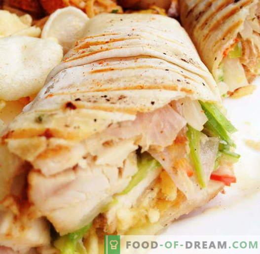 Kana Shawarma - parimad retseptid. Kuidas õigesti ja maitsev kokk shawarma kana.