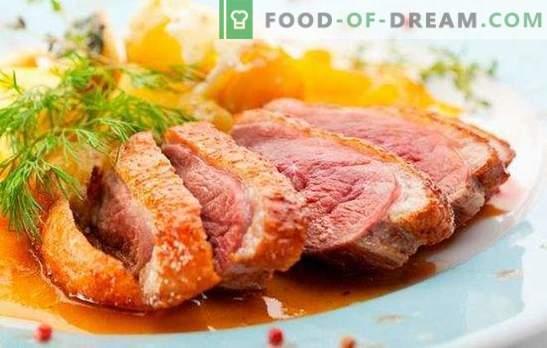 Duck Breast: retseptid röstitud, küpsetatud, tõmblevaks. Prantsuse, Itaalia ja Venemaa kokkade kõige maitsvamad võimalused pardi rindade retseptide jaoks