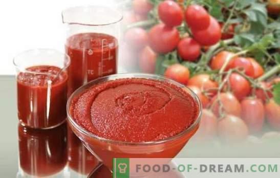 Tomatitooted talveks - universaalne säilitamine. Kuidas valmistada maitsvat pasta tomatitest talveks: paks ja vürtsikas
