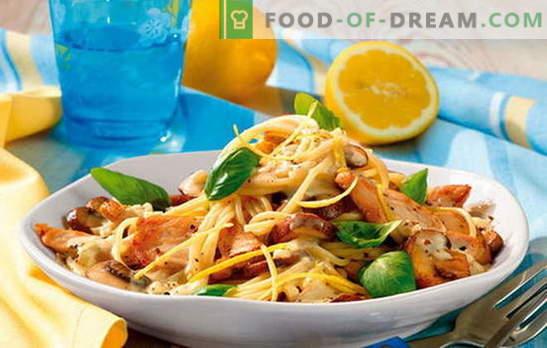Pasta kanafileega - täielik harmoonia! Pasta retseptid kanafilee ja köögiviljade, seente, peekoniga, kastmetega